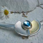 ARS Collier Silber+Gold Blautopas