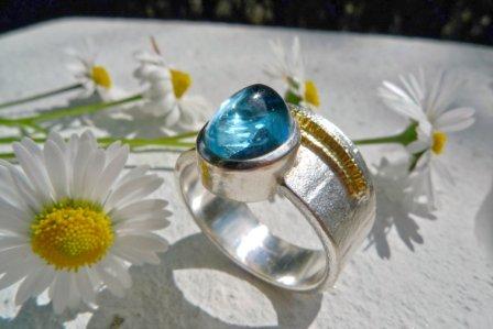 ARS Ring Blautopas Silber+Gold