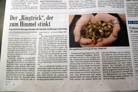 Bericht der BZ vom 5.10.2010 - Ringtrick