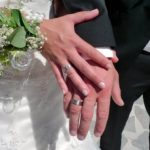 Brautpaar D. + S. Faller mit Trauringen