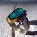 Ring Silber u. Gold mit Boulderopal - Unikat