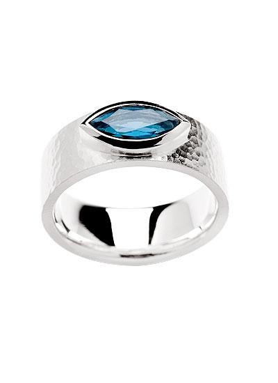 bastian inverun Ring Silber mit Topas London Blue