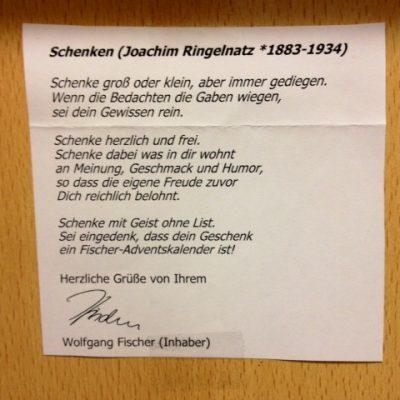 Fischer & Söhne: Adventskalender