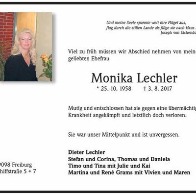 Wir trauern um Monika Lechler